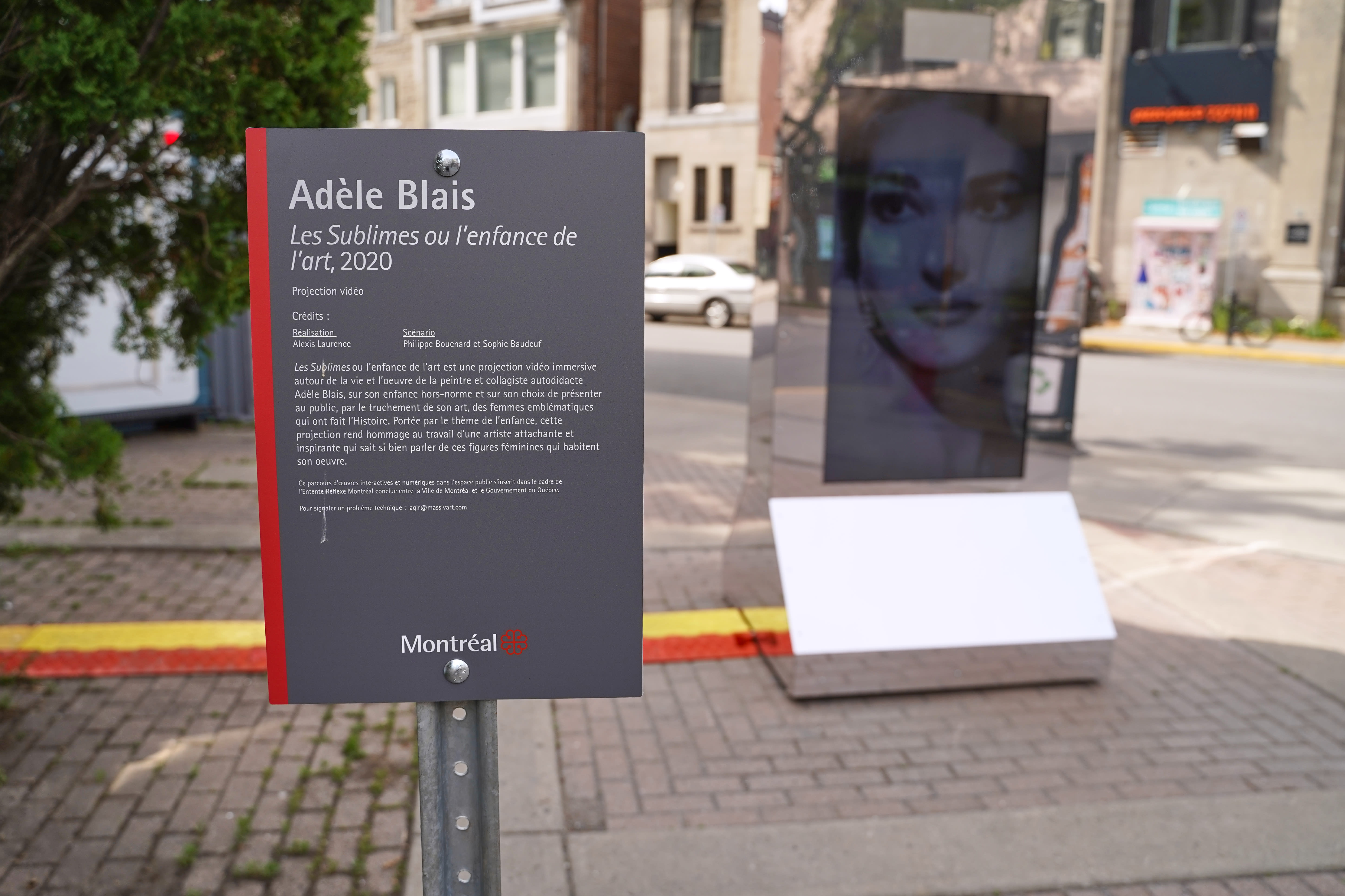 Les Sublimes ou l'enfance de l'art, 2020 (Adèle Blais), au coin des rues De l'Église et Wellington, Verdun