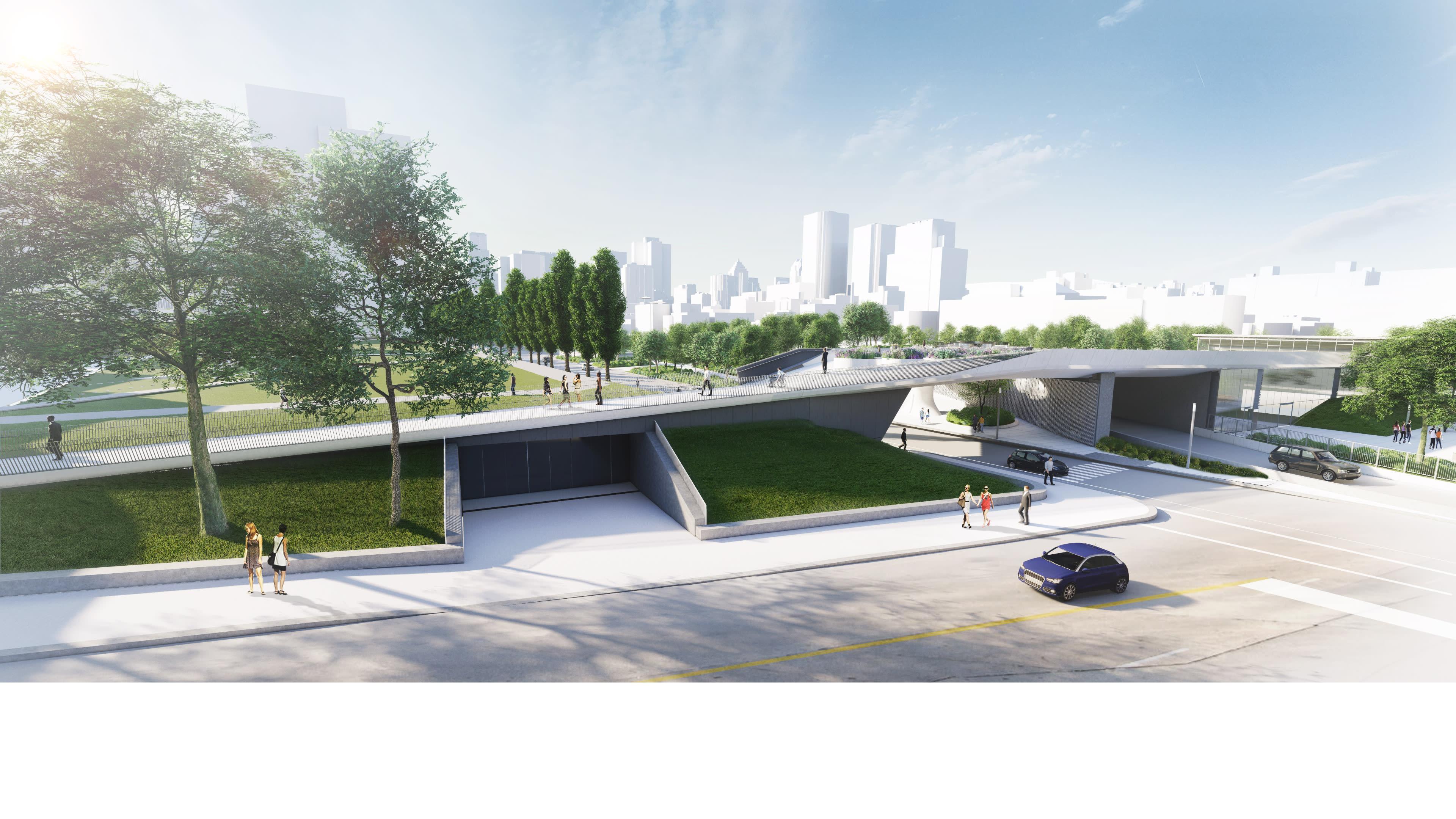 La future place des Montréalaises - Vue de la passerelle Champ-de-Mars