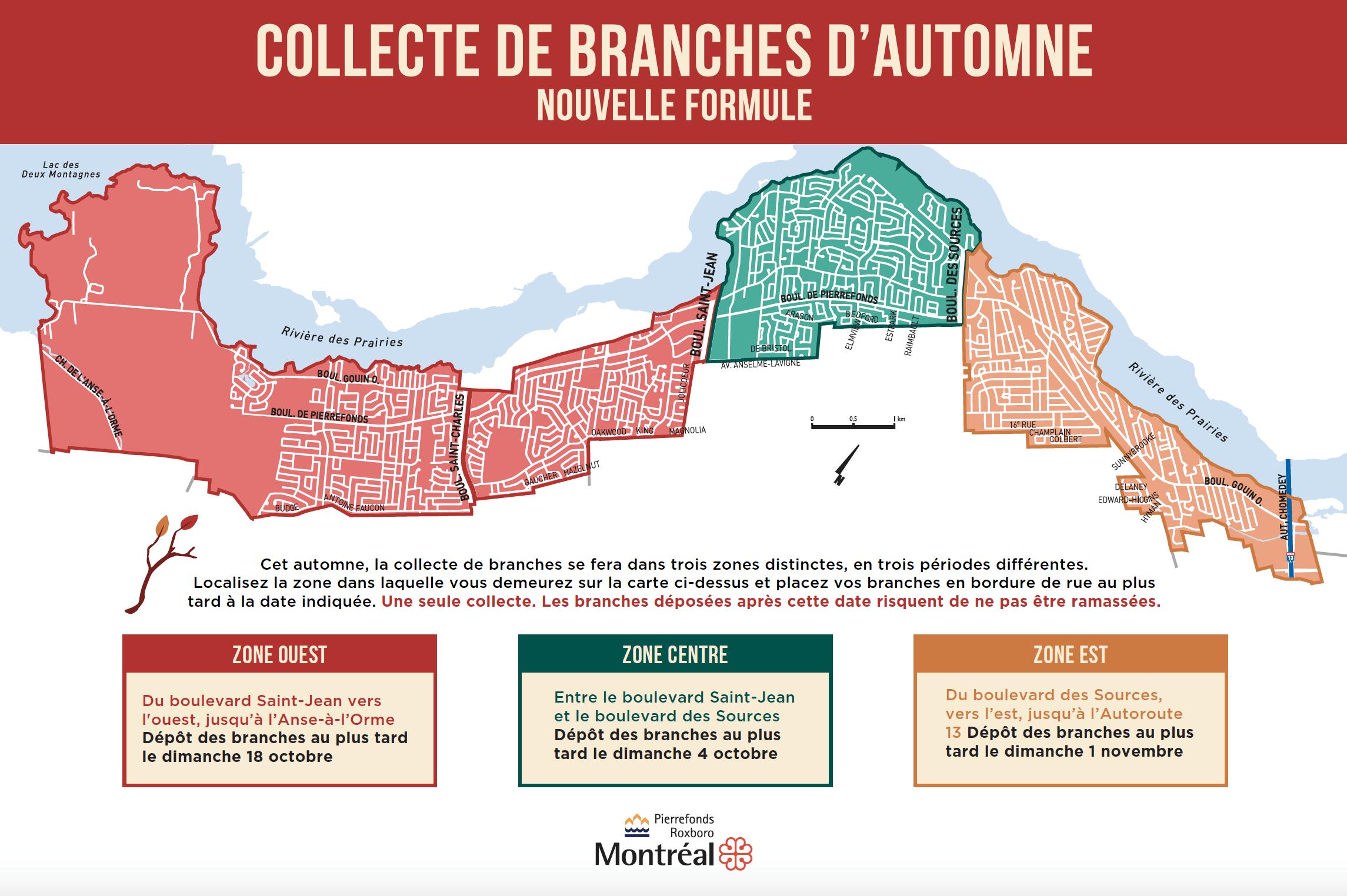 Carte - Collectes de branches (zones et dates)