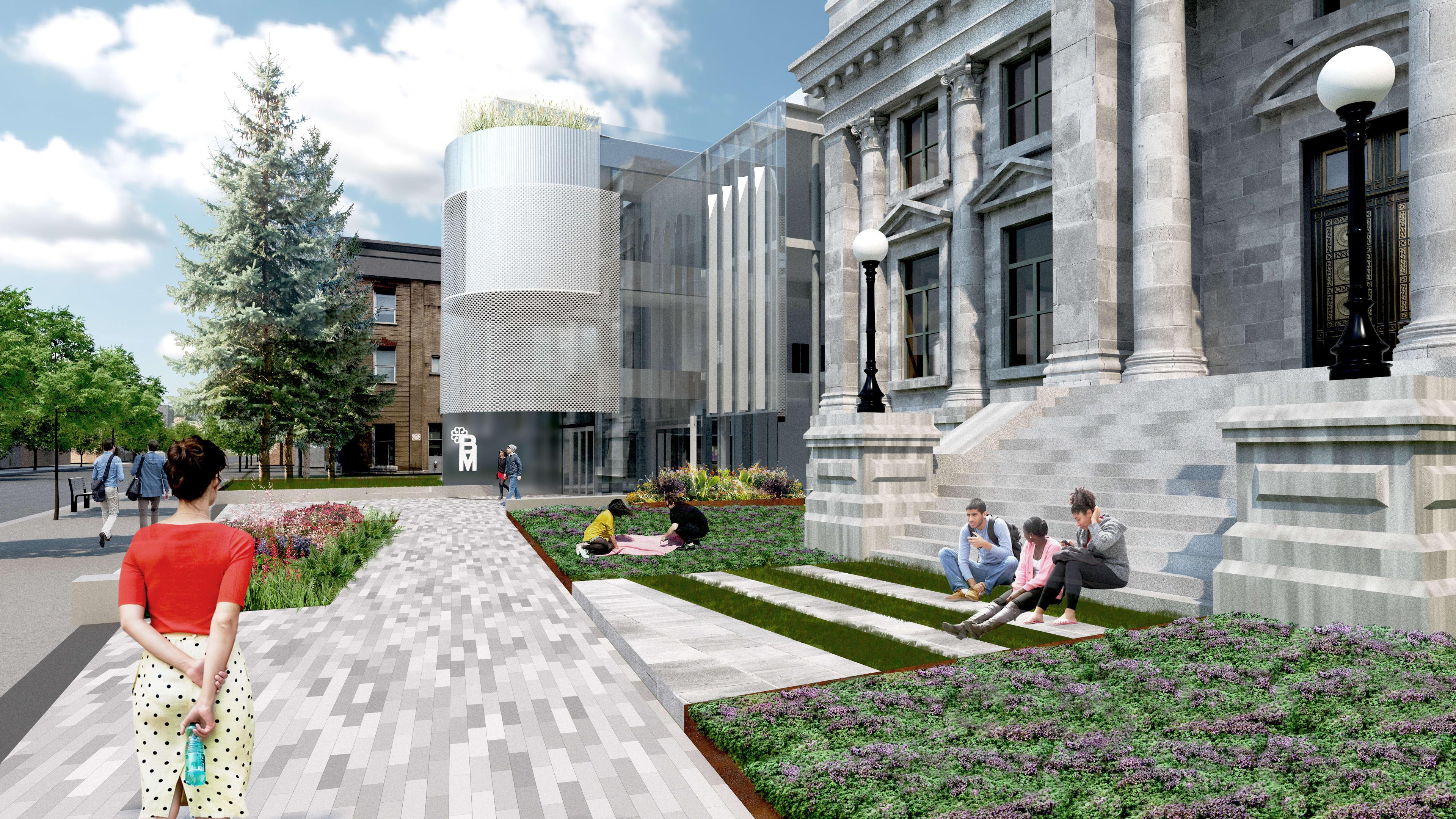 La nouvelle bibliothèque Maisonneuve, vue de la rue Ontario
