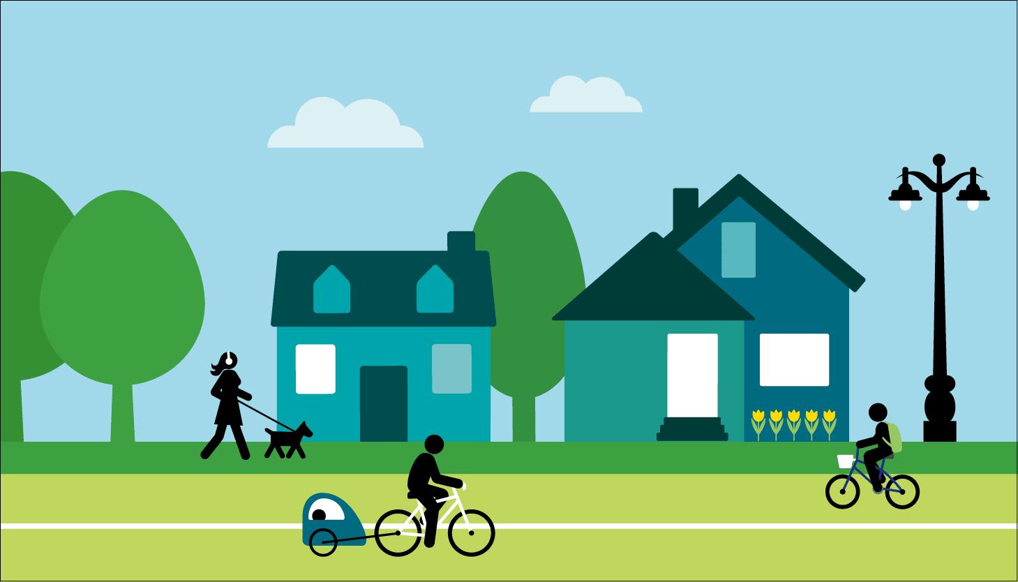 Visuel de cyclistes roulant sur une piste bidirectionnelle dans un quartier