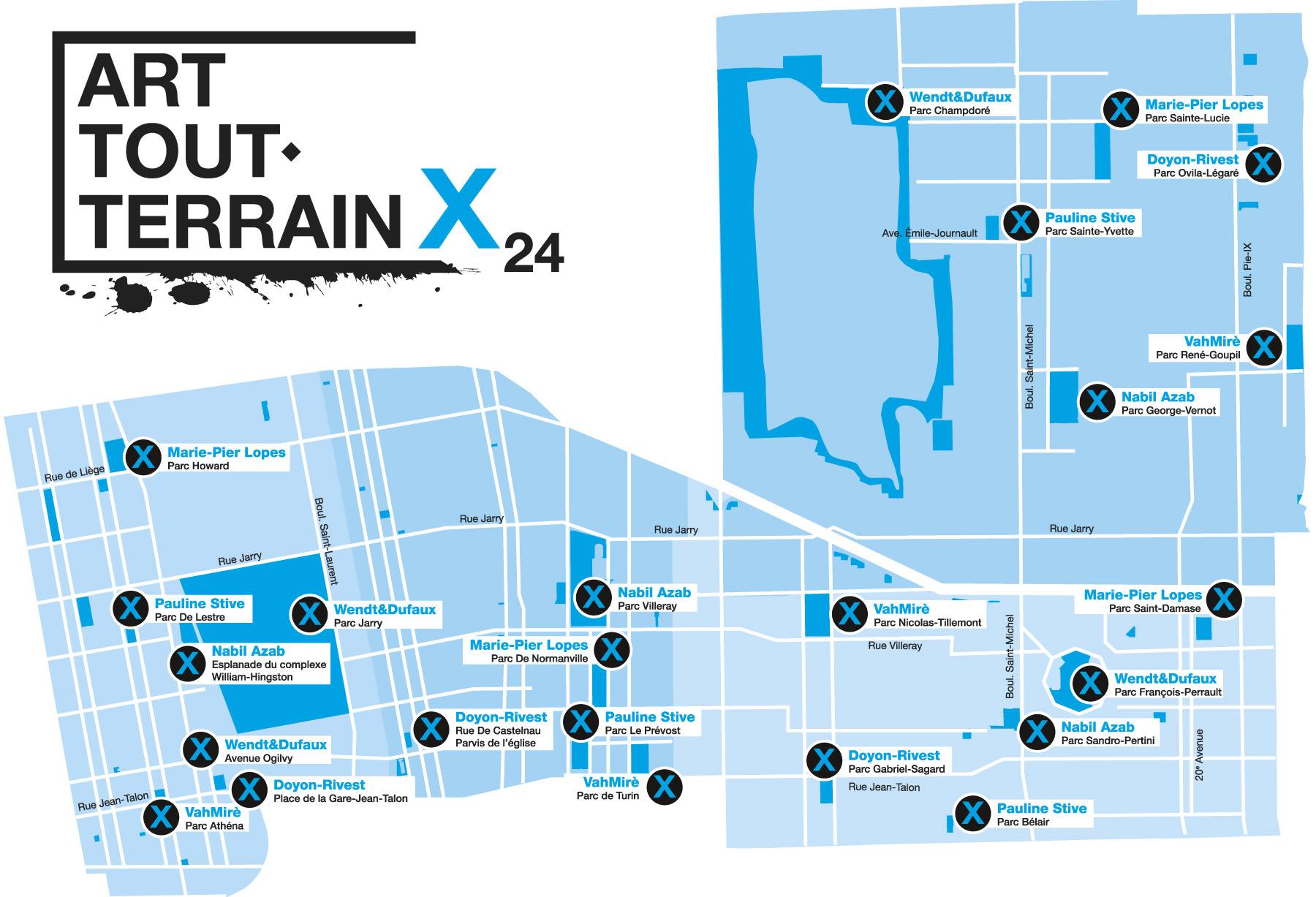 Carte de l'emplacement des œuvres d'Art tout-terrain x 24