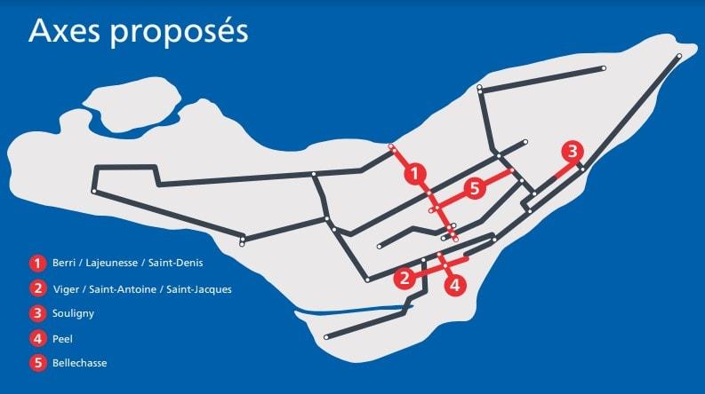 REV - Réseau Vélo Express Montréal - axes proposés