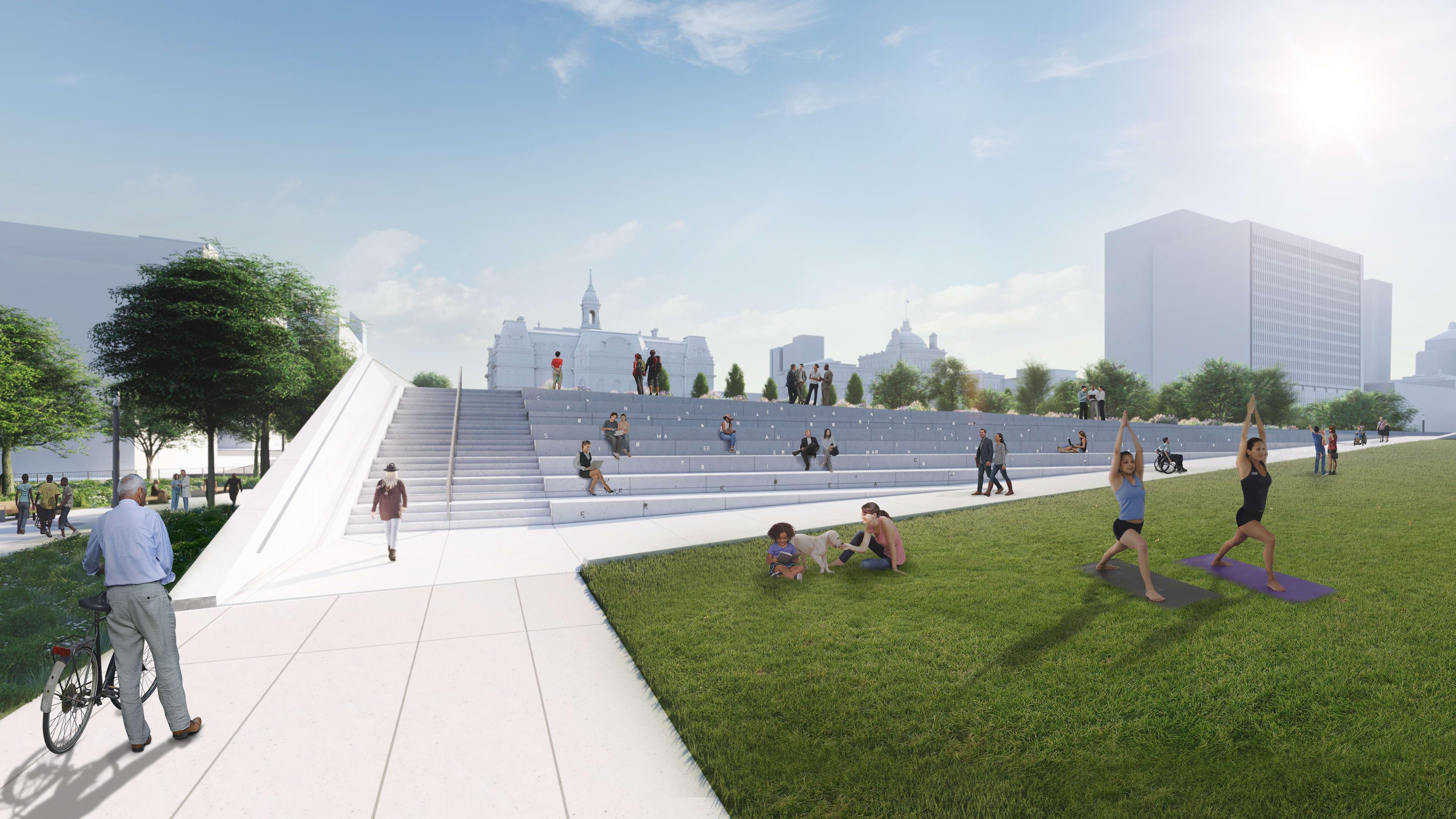 La future place des Montréalaises - Vue des escaliers