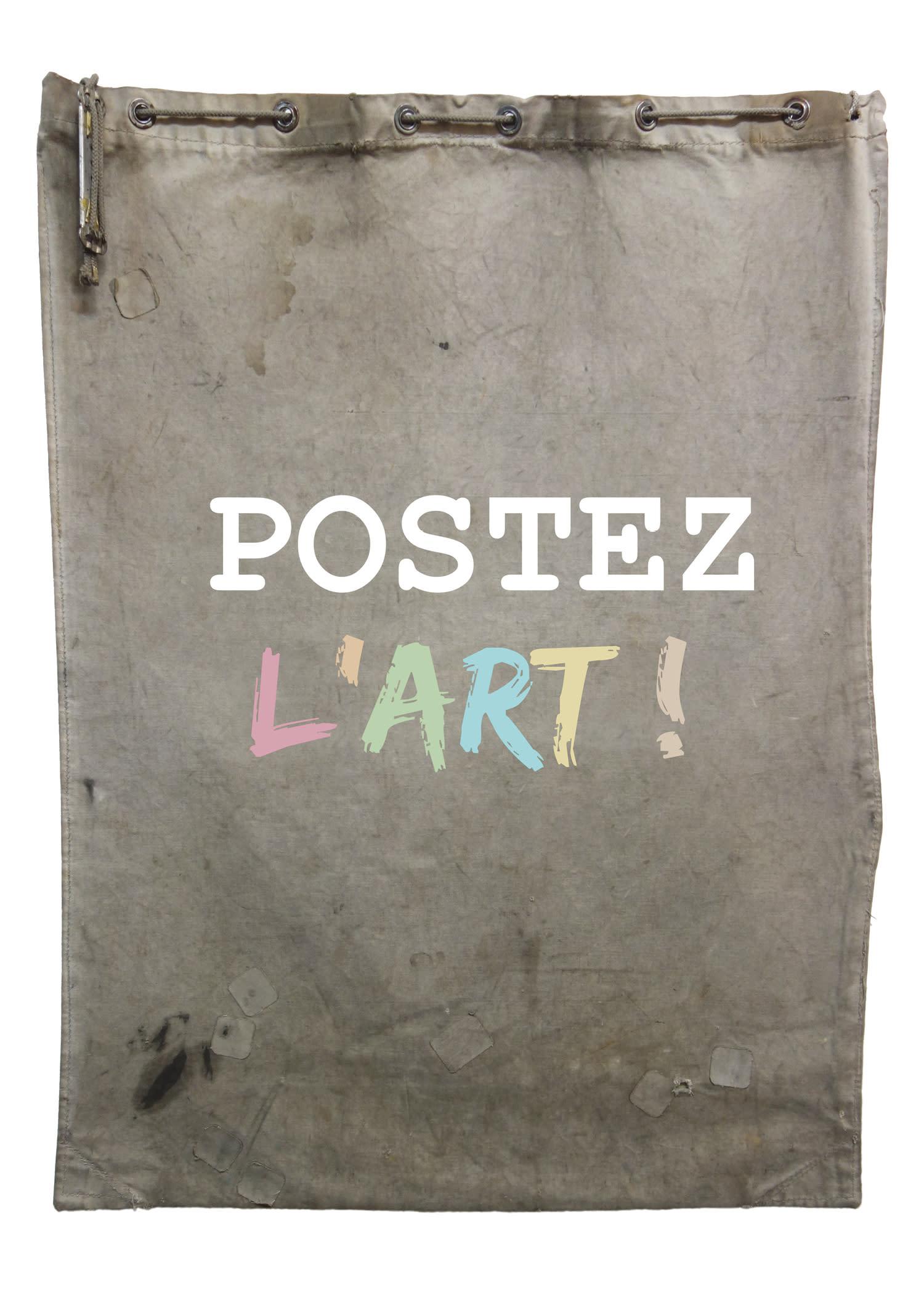 Vieux sac postal avec l'inscription Postez l'art dessus.