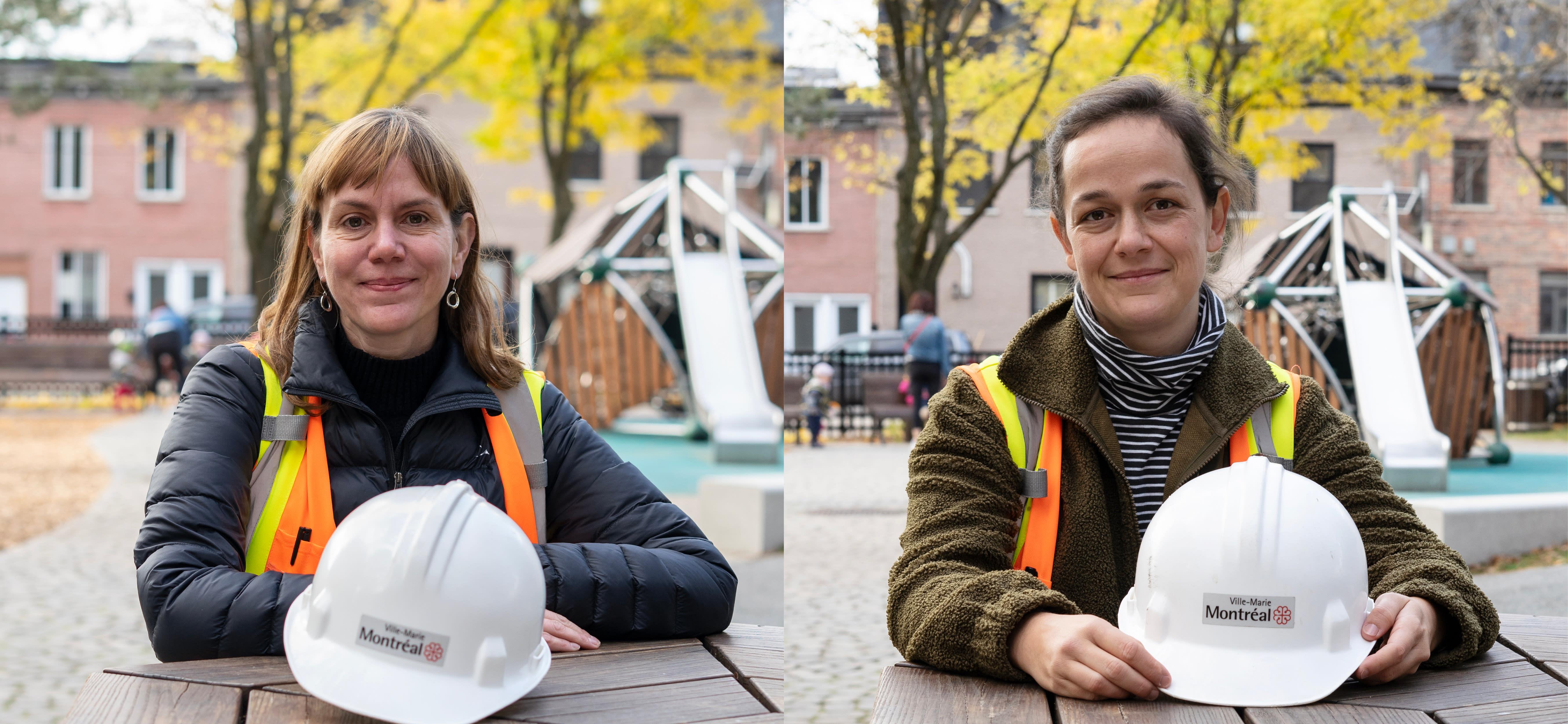 Marie-Ève Plante et Daphnée St-Pierre travaillent pour la division des parcs