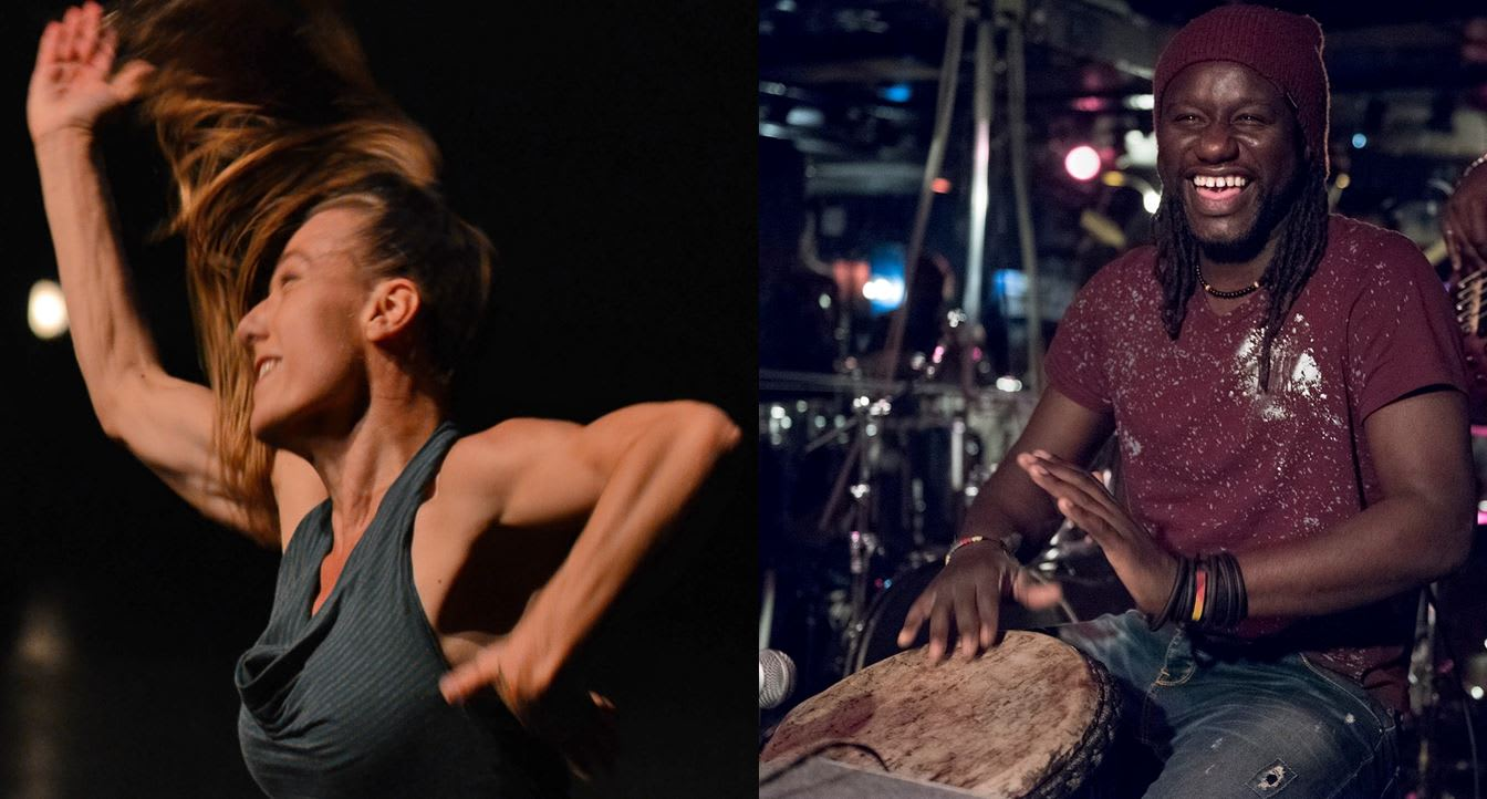 Le duo Keur Jam formé d'Estelle Lavoie ( kora, chant et danse) et de Sadio Sissokho (chant et percussions)