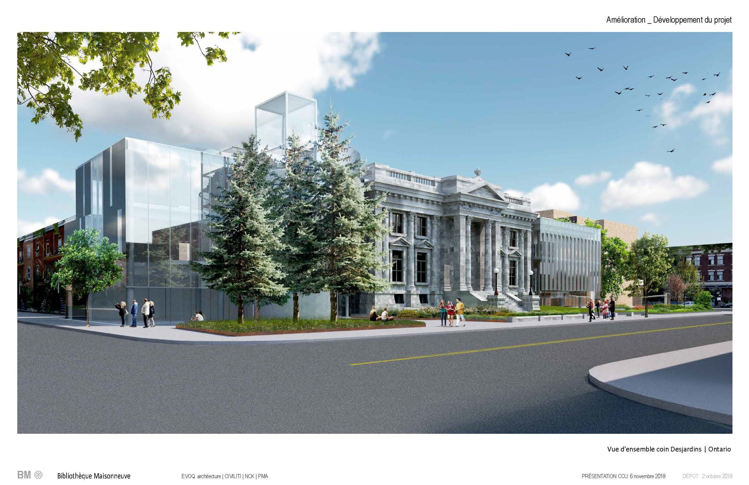 Vue de la future bibliothèque Maisonneuve, angle Desjardins et Ontario