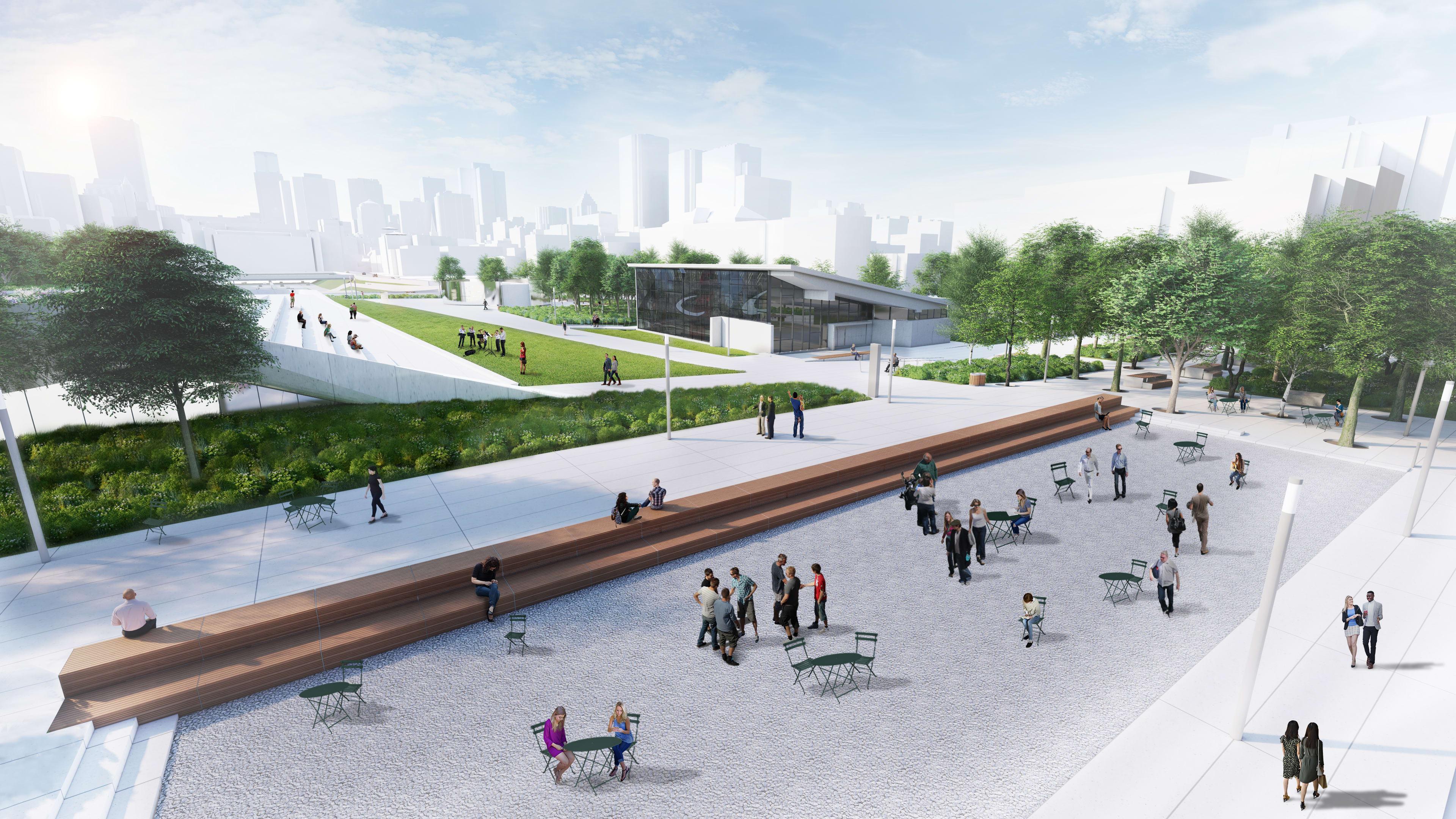 La future place des Montréalaises - Banc linéaire