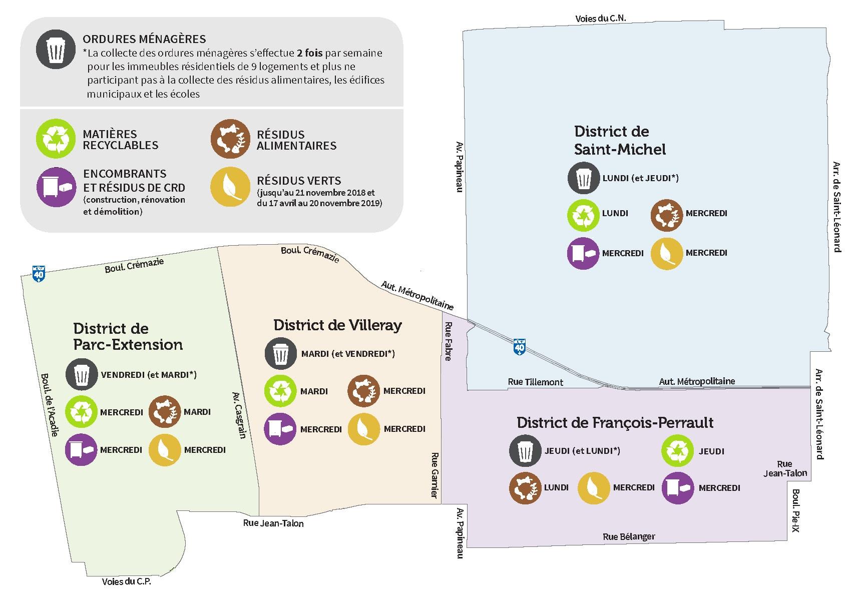 Carte des horaires de collecte de Villeray-Saint-Michel-Parc-Extension.
