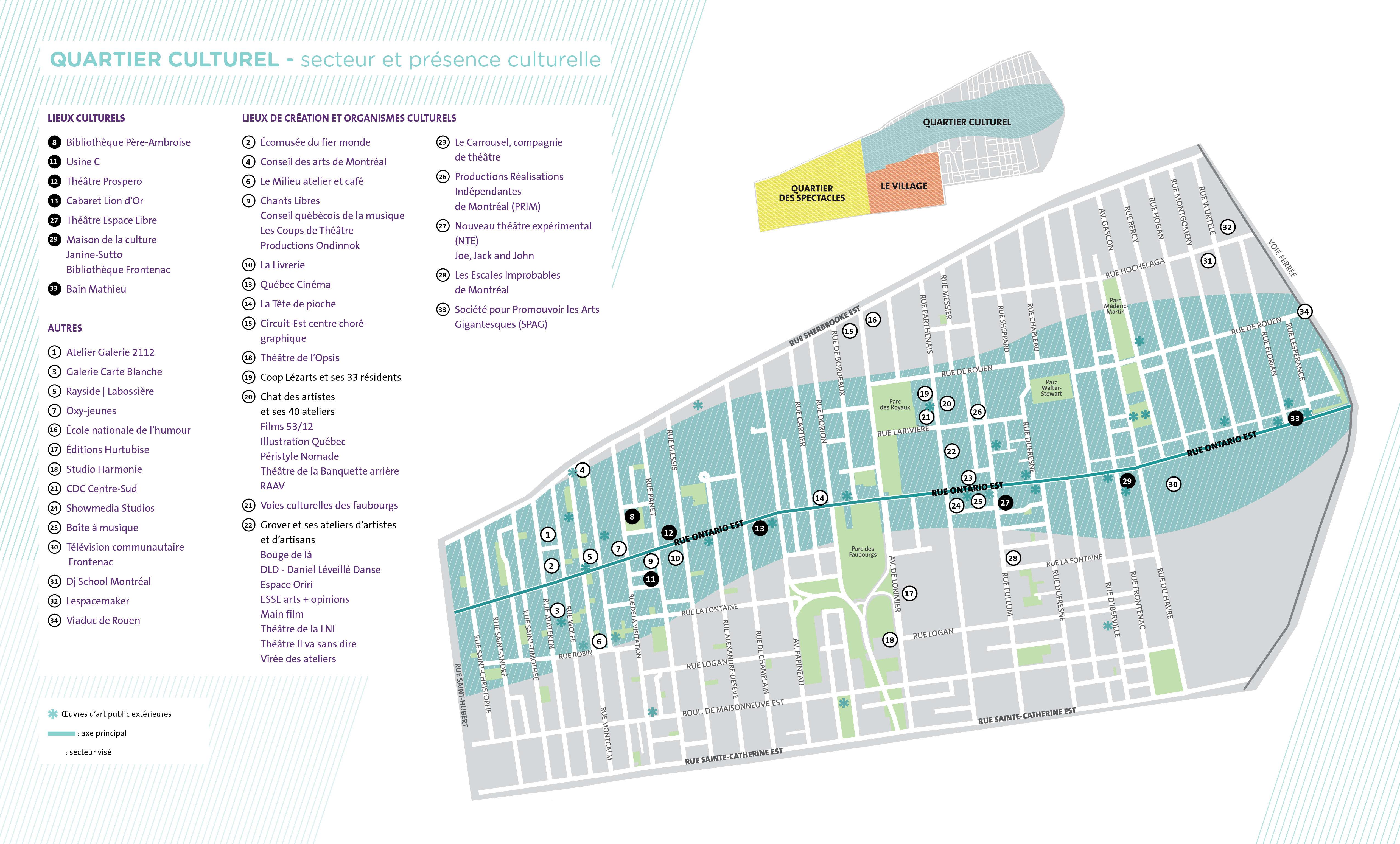 Carte du quarter culturel dans l'est de Ville-Marie