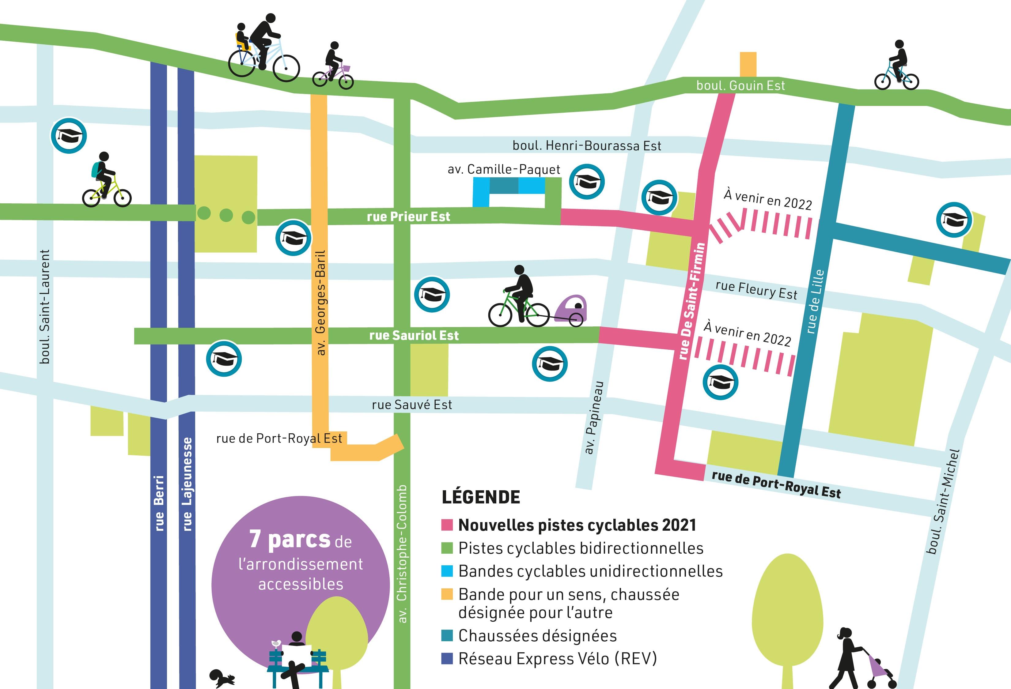 Carte qui indique où sont situées les nouvelles pistes cyclables