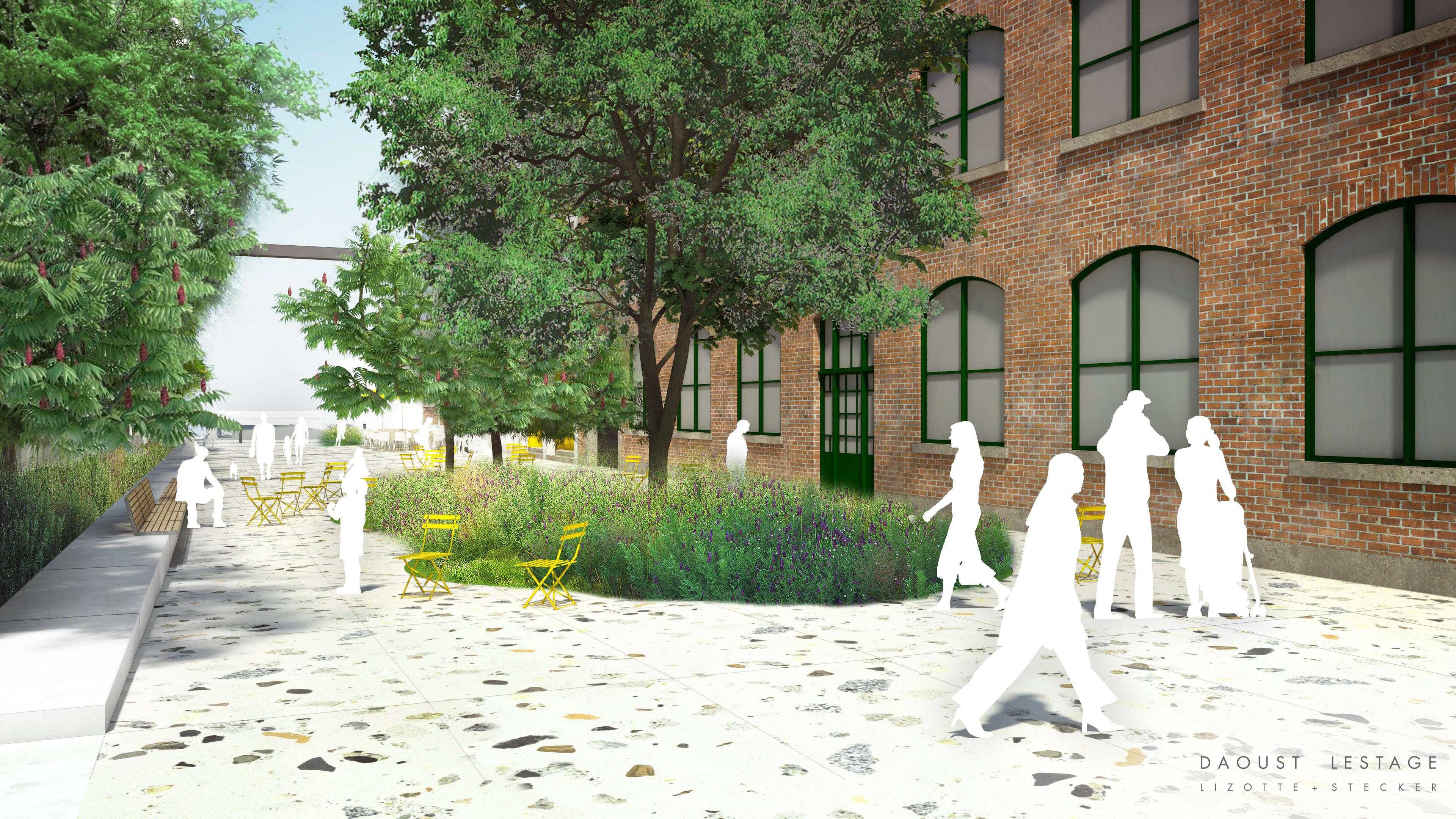 Perspective de la future place publique   Firme d'architecture de paysage Daoust Lestage Lizotte Stecker
