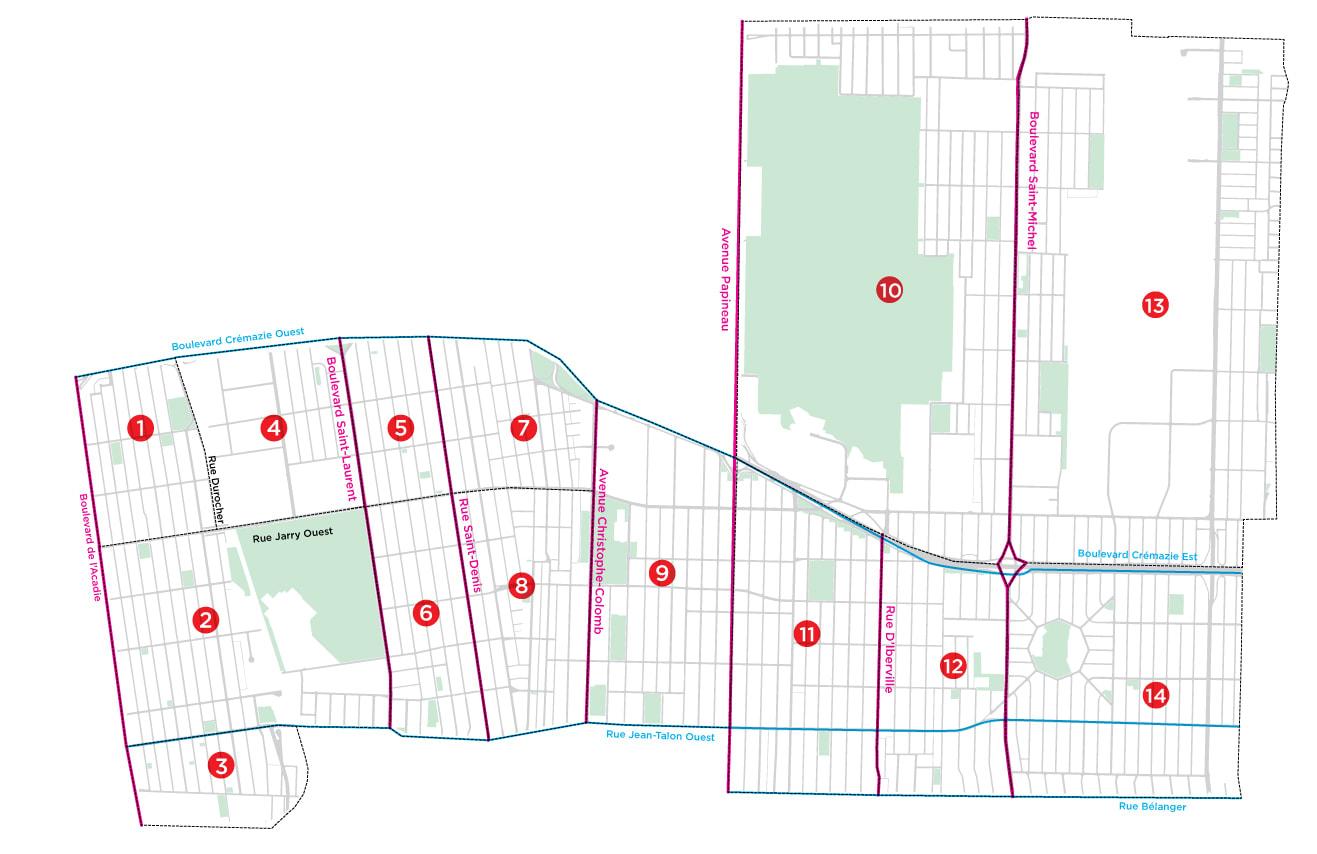 Carte des secteurs d'analyse de la circulation