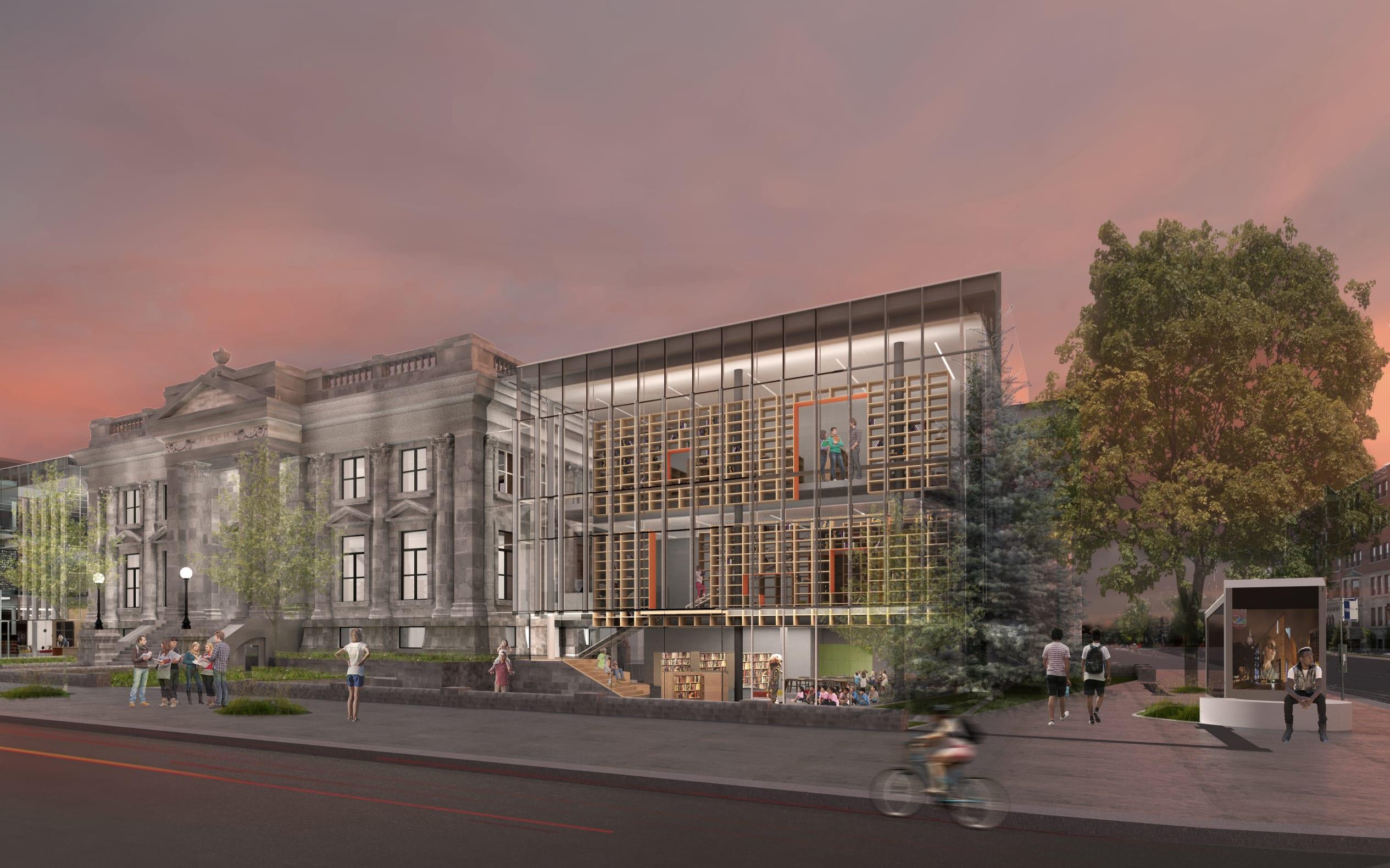 Maquette de la future bibliothèque Maisonneuve le soir