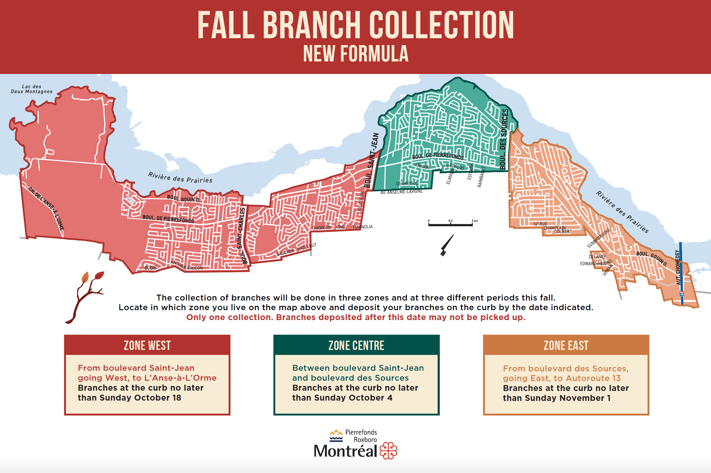 Branch collection MAP - zones and dates