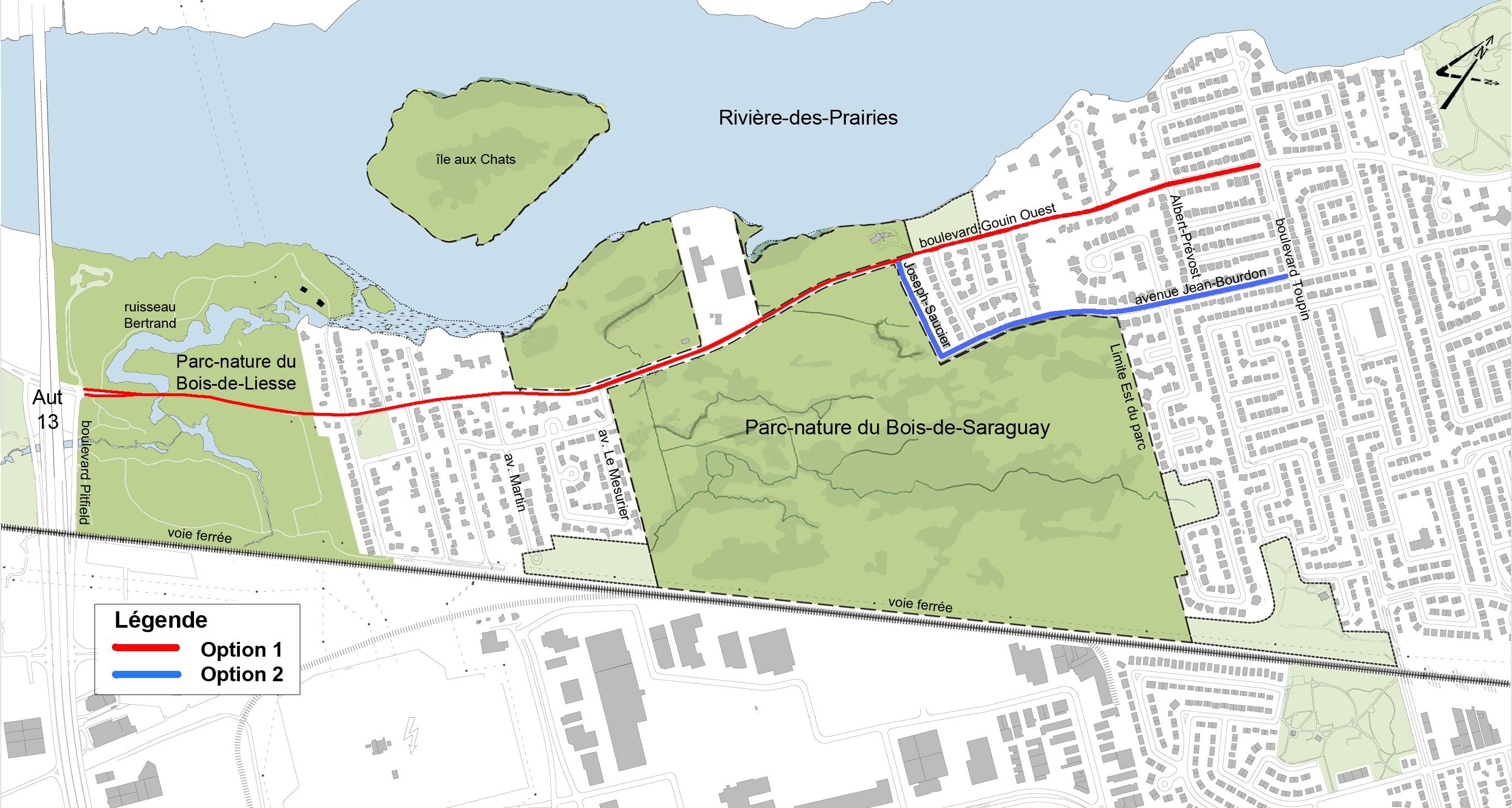 Les 2 options de réaménagement possibles pour le boulevard Gouin Ouest