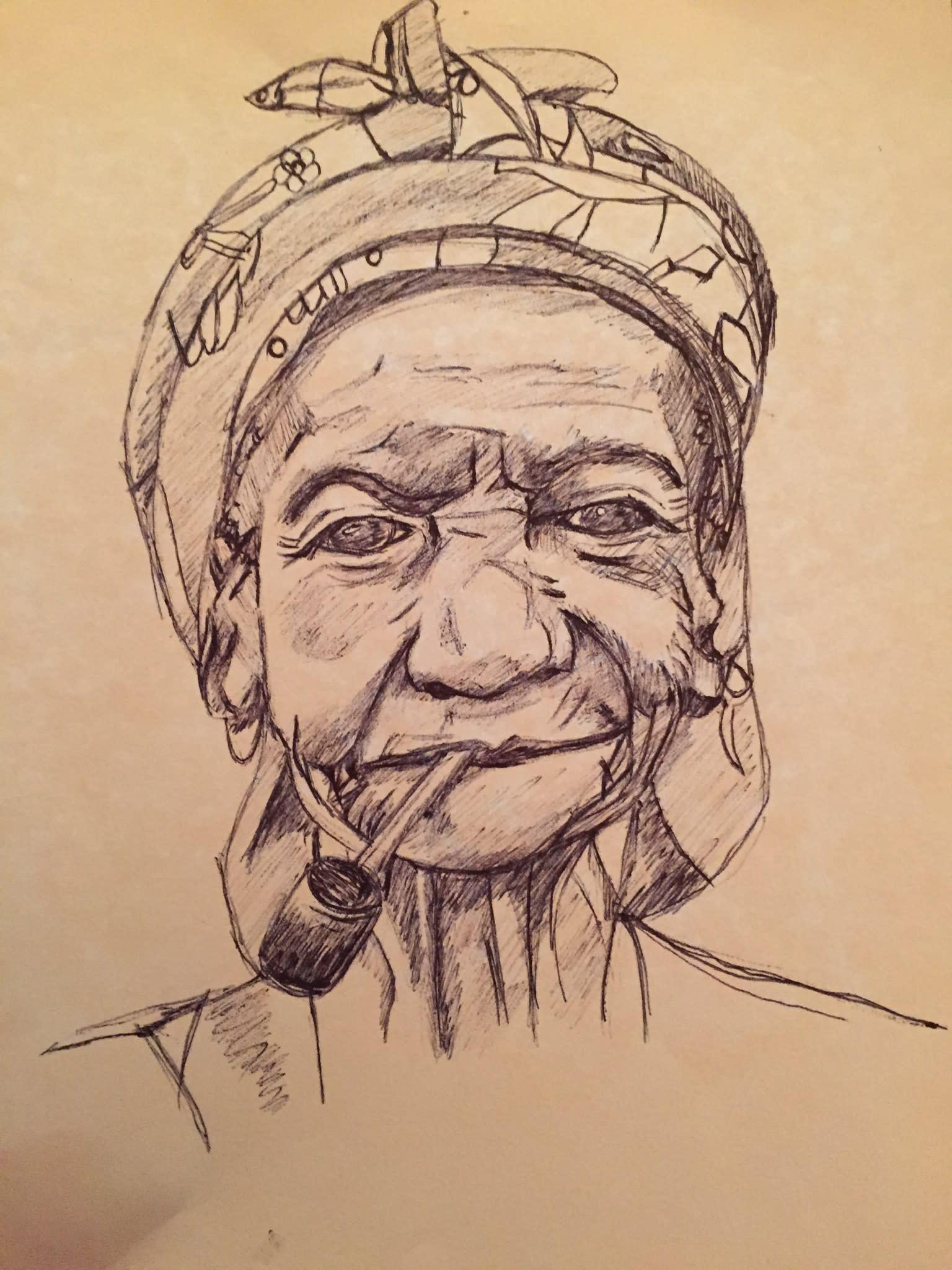 Dessin d'une femme âgée fumant la pipe