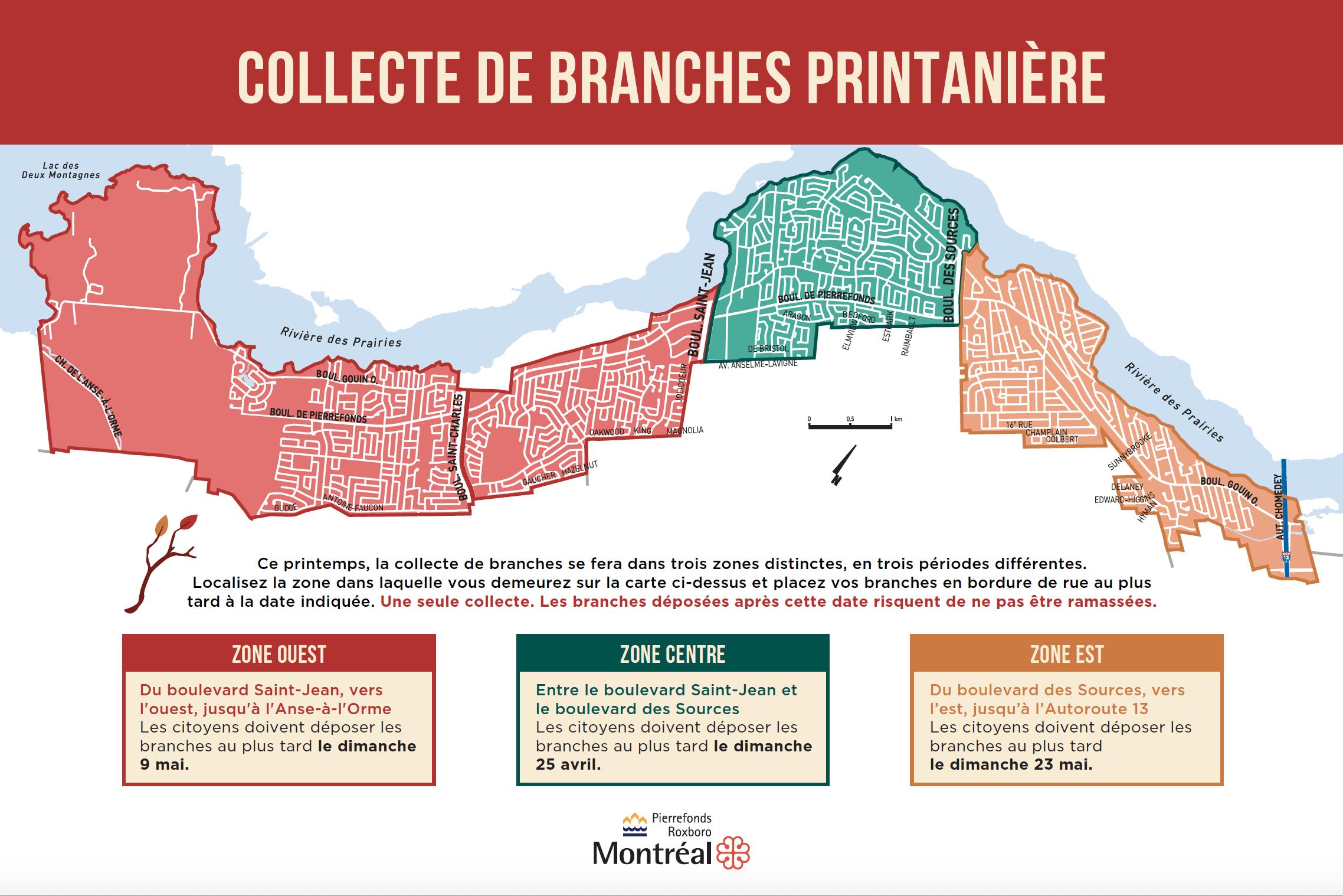 Carte des zones de collecte des branches à Pierrefonds-Roxboro