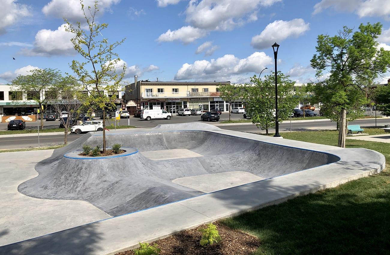 Le skatepark du parc Delorme à Saint-Léonard.