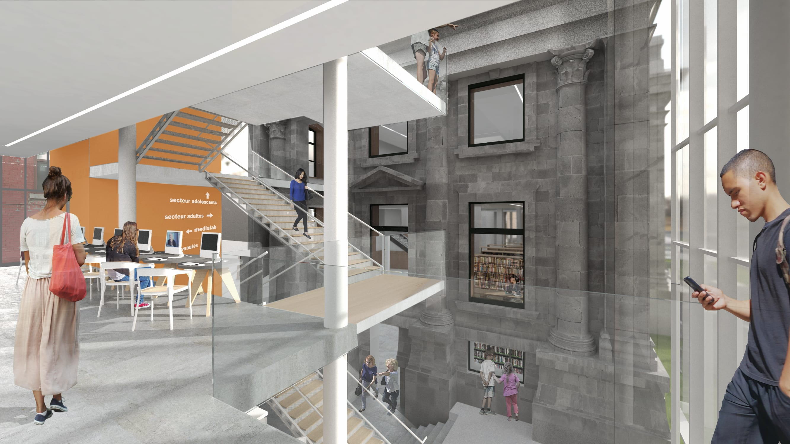 Intérieur de la nouvelle bibliothèque Maisonneuve