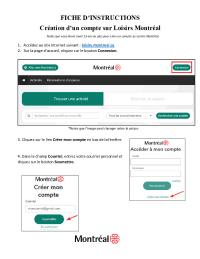 Fiche d'instructions - création d'un compte sur Loisirs Montréal