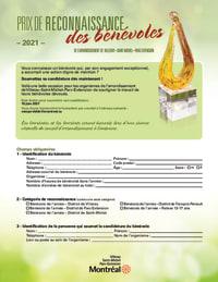 Formulaire de candidature - Prix de reconnaissance des bénévoles