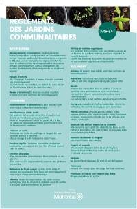 Affichette des règlements pour les jardins communautaires dans MHM