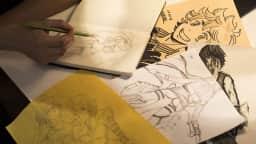 Feuilles avec dessins manga