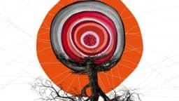 Nous voyons un détail de l'affiche du festival. Au centre, il y a une image qui nous fait penser à un œil duquel sort un tronc d'arbre et ses racines. En arrière-plan, il y a un cercle orange et des petits fils qui vont partout. Le fond de l'affiche est blanc.