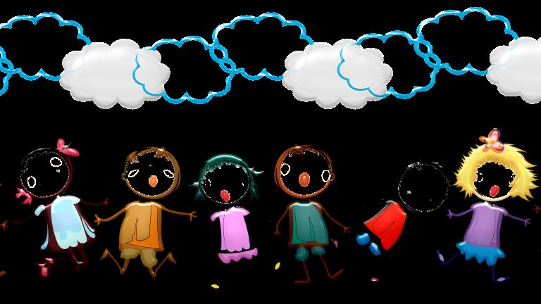 illustration d'une chaîne d'enfants se tenant pas la main