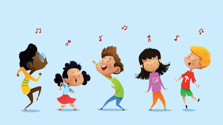 Des enfants d'origines diverses dansent et chantent.