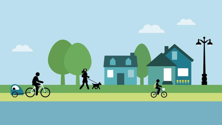 Illustration d'une piste cyclable avec jolies maison et arbres