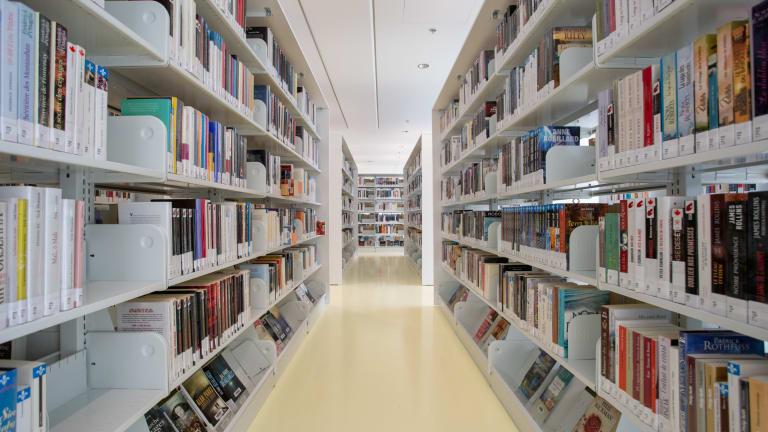 Perspective entre deux rangée de livres à l'intérieur d'une bibliothèque.