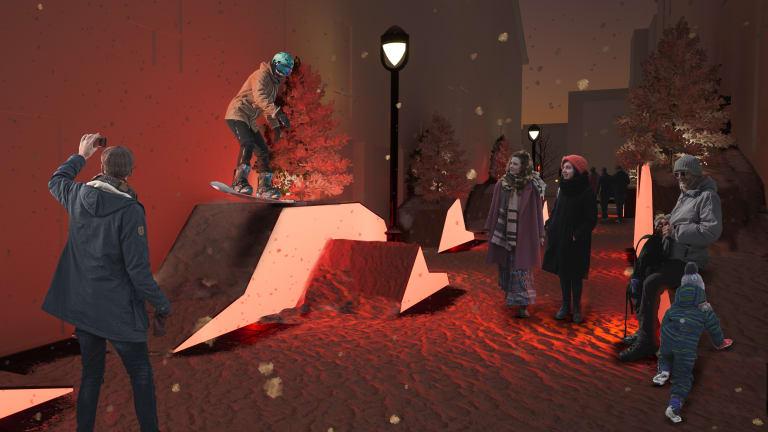 La station hivernale « Hors piste - Les parois » à la place Borduas