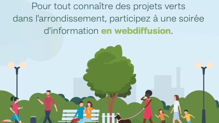 Séance d'information sur les projets verts à Outremont le 6 juillet 2020.