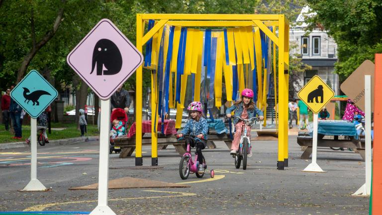Jardin du petit monde à bicyclette au parc La Fontaine