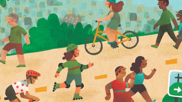 Des personnes s'adonnent au cyclisme, à la course ou à la marche
