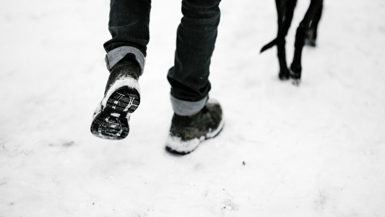 Photograph of a person walking with his dog in the snow.