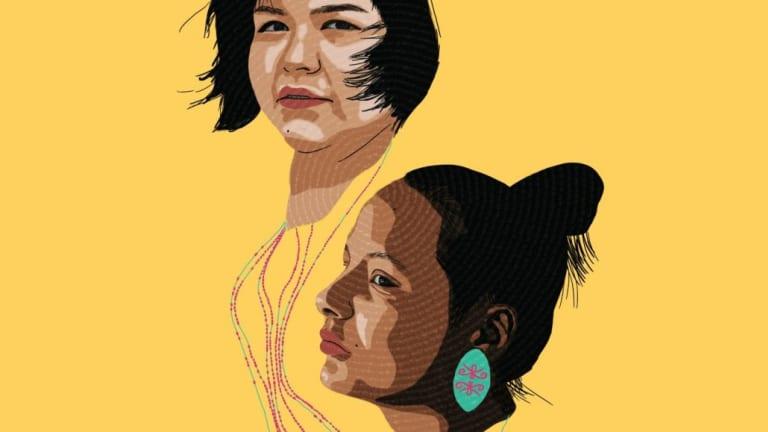 Portrait des deux personnages principaux, deux jeunes femmes innues