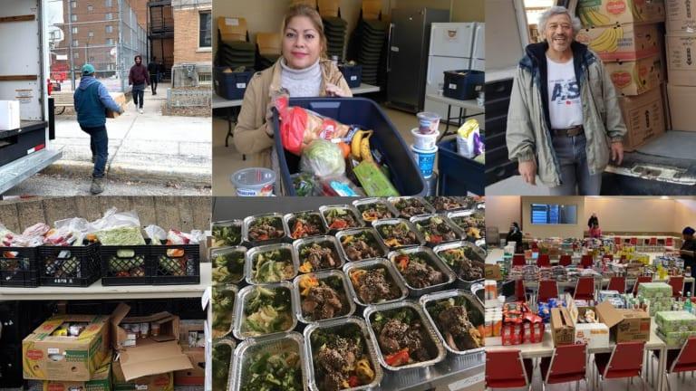 Montage photos du soutien alimentaire aux banques alimentaires