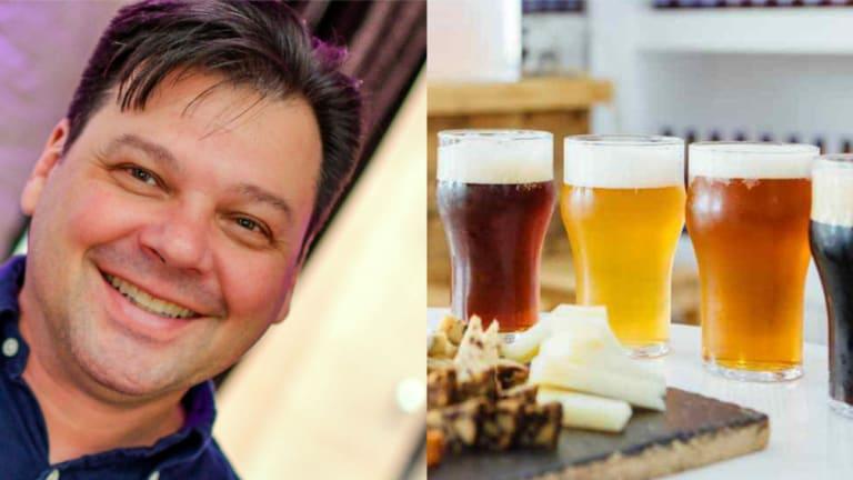 Photo du conférencier Stéphane Morin et de pintes de bières