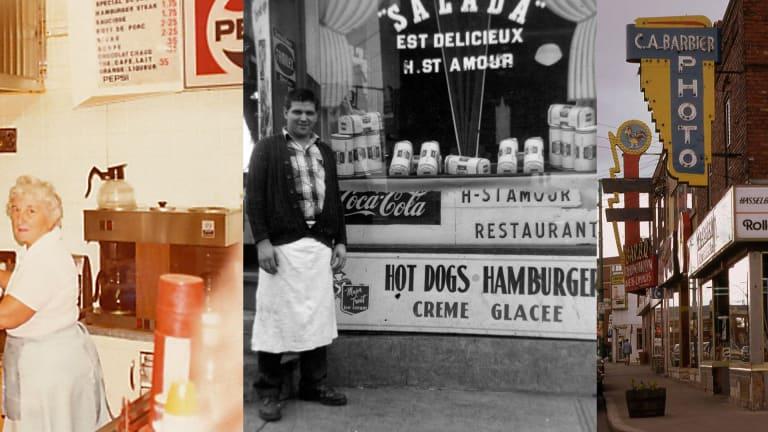 Mme Proulx du restaurant «Chez Réal», vers 1970, Hubert Saint-Amour devant son commerce «Épicerie Saint-Amour», vers 1960 et magasin de photo C.A Barbier