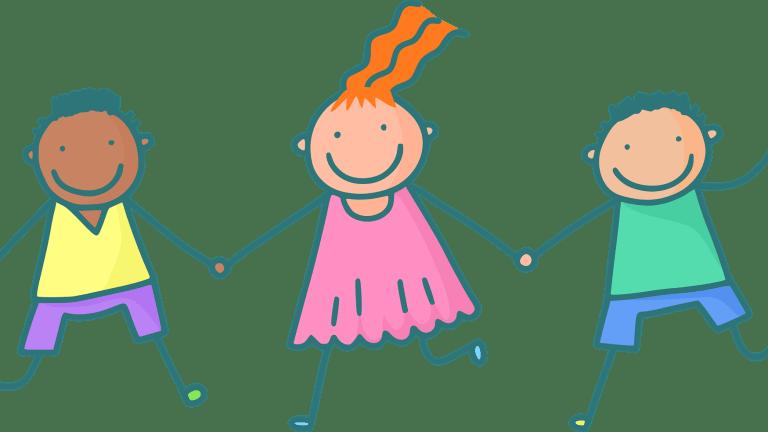 Illustration d'enfants, deux garçons une fille qui s'amusent