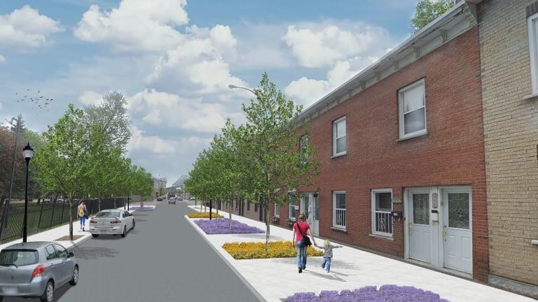 Aperçu des améliorations importantes de la rue Parthenais, au sud de la rue Sainte-Catherine Est, qui répondent aux besoins exprimés par les résidentes et résidents du secteur, notamment en termes de lutte aux îlots de chaleur et d'apaisement.