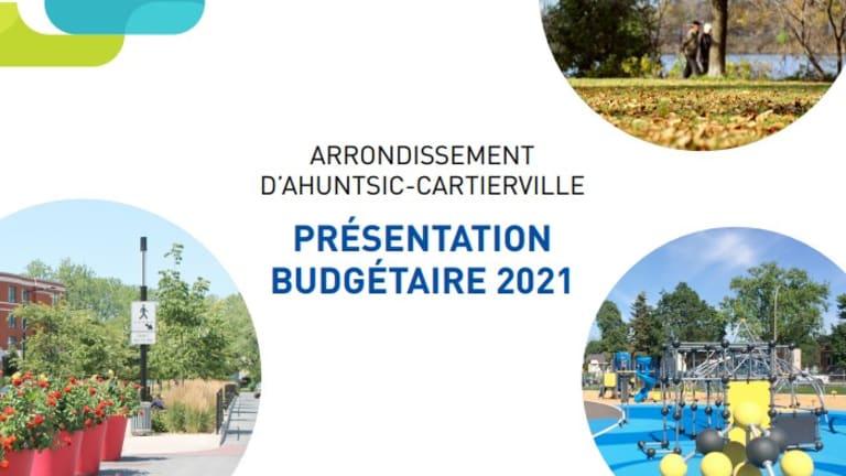 Couvert de la présentation budgétaire 2021