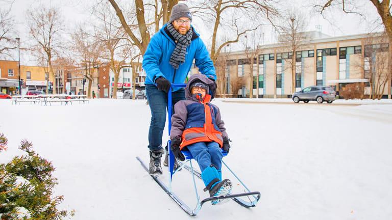 Trottinette des neiges au parc du Pélican