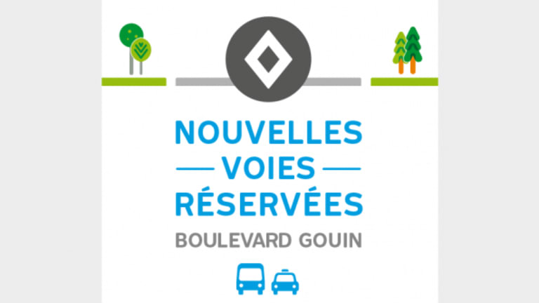Reserved traffic lane on boulevard Gouin Ouest in Pierrefonds-Roxboro