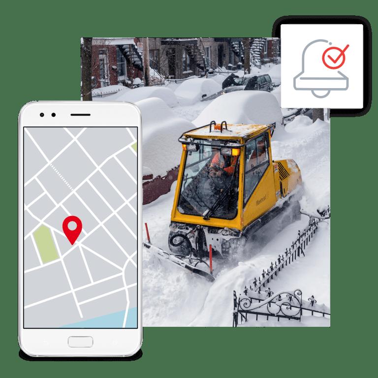 Chenillette qui dégage la neige des trottoirs et illustration de l'application mobile pour signaler un problème de déneigement.