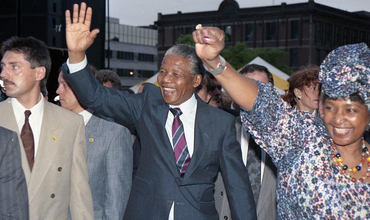Nelson Mandela lors de sa visite à Montréal en 1990